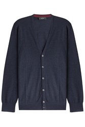Joseph Merino Wool Cardigan With Suede Patches Blue