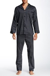Majestic Long Sleeve Notched Collar Pajama Set Black