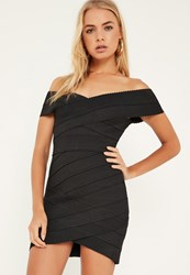 Missguided Black Bandage Cross Front Bodycon Dress