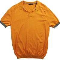 Lords Of Harlech Marcus Polo Sweater In Mango Yellow Orange
