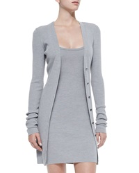 T By Alexander Wang Long Fitted Cardigan Heather Gray