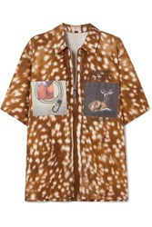 Burberry Oversized Printed Cotton Twill Shirt Brown
