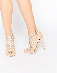 Faith Little Nude Embellished Caged Heeled Sandals Beige