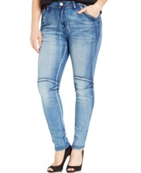 City Chic Plus Size Seamed Skinny Jeans Light Denim Wash