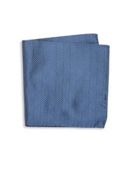 Armani Collezioni Chevron Pattern Pocket Square Blue