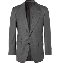 Tom Ford Shelton Grey Slim Fit Puppytooth Wool And Silk Blend Suit Jacket Gray