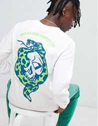 Diamond Supply Co. Venom Long Sleeve T Shirt With Back Print In White