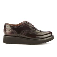 Grenson Women's Emily Leather Brogues Burgundy Rub Off