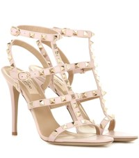 Valentino Rockstud Leather Sandals Pink