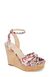 Bp. Arya Platform Wedge Sandal Grey Floral Fabric Print