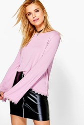 Boohoo Crochet Trim Wide Sleeve Top Pink