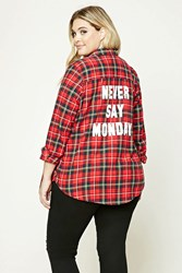 Forever 21 Plus Size Plaid Flannel Shirt Red Dark Navy