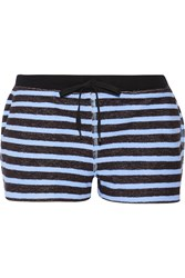 Alexander Wang Striped French Cotton Terry Shorts Black