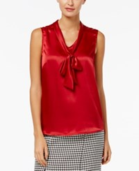 Kasper Charmeuse Tie Neck Top Fire Red