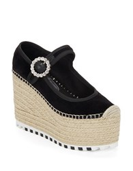 Marc By Marc Jacobs Anjelica Espadrille Platform Wedge Mary Janes Black