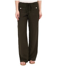 Allen Allen Linen Long Pant Ll9497 Dark Olive Women's Casual Pants