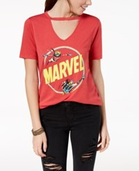 Mighty Fine Juniors' Marvel Choker Graphic T Shirt Heather Red