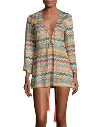 Missoni Mare Zigzag Chevron Lace Up Tunic Coverup Multicolor
