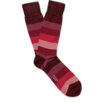 Paul Smith Striped Mercerised Cotton Blend Socks Red