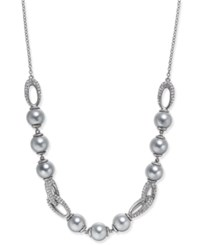 Danori Silver Tone Imitation Pearl And Crystal Collar Necklace Created For Macy's Rhodium
