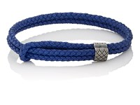 Bottega Veneta Men's Sterling Silver And Intrecciato Leather Bracelet Blue