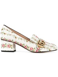 Gucci Floral Marmont Loafers Women Calf Leather Leather 39 White
