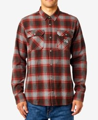 Fox Men's Trail Dust Plaid Flannel Shirt Dark Maroon