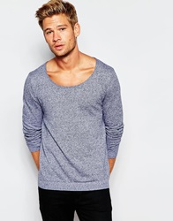 Asos Scoop Neck Jumper In Cotton Navyandwhitetwist