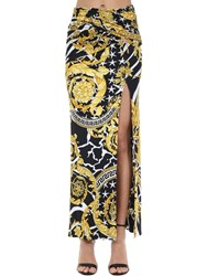 Versace Printed Stretch Jersey Midi Skirt W Pins Black