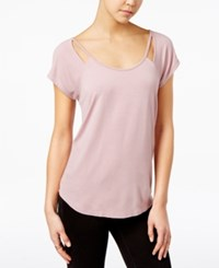 Almost Famous Juniors' Strappy Cutout T Shirt Mauve