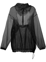 Maison Martin Margiela Sheer Loose Fit Hoody Black