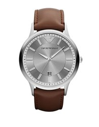 Emporio Armani Mens Silvertone Stainless Steel And Leather Watch Brown