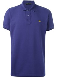 Etro Short Sleeve Polo Shirt Blue