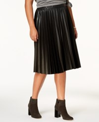 Ing Trendy Plus Size Pleated Faux Leather Skirt Black