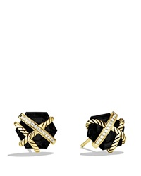 David Yurman Cable Wrap Earrings With Black Onyx Yellow Gold