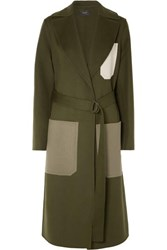 Joseph Color Block Wool And Cashmere Blend Coat Army Green
