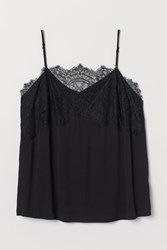 Handm H M H M Camisole Top With Lace Black