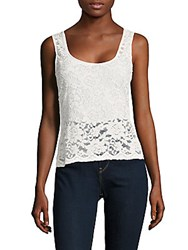 Bcbgmaxazria Floral Lace Sleeveless Top Off White