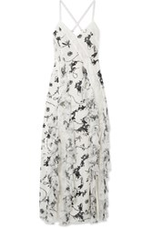 Alice Olivia Jayda Lace Trimmed Ruffled Floral Print Silk Crepe De Chine Maxi Dress White