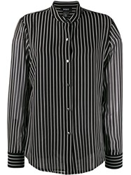 Dkny Button Up Striped Blouse Black