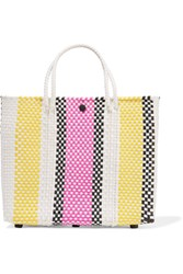 Truss Striped Leather Trimmed Woven Raffia Effect Tote Fuchsia