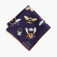 J.Crew For The Xerces Society Save The Bees Italian Silk Pocket Square Deep Aubergine