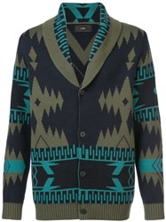 Alanui Patterned Cashmere Cardigan Green
