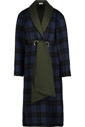 Suno Belted Plaid Wool Blend Coat Multi