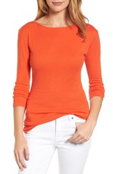 Caslonr Petite Women's Caslon Three Quarter Sleeve Tee Orange Spice