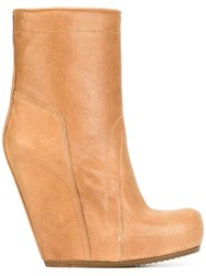 Rick Owens 12 Cm Wedge Boots Brown