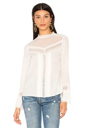 Rebecca Taylor Long Sleeve Lace Silk Top White
