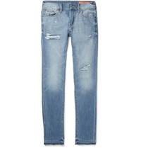 Jean Shop Jim Skinny Fit Distressed Selvedge Denim Jeans Mid Denim
