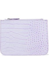 Iris And Ink Blake Croc Effect Leather Pouch Lilac