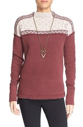 Women's Free People 'Snow Bunny' Pullover Berry Combo
